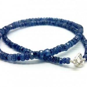 42CM LINE SAPPHIRE BLUE FACETED BEADS NECKLACE 92 CARATS 4X4.5X5MM14 20 U$ Per Carat