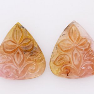 Natural Gemstone Tourmaline Multi Shade Drop shape handcrafted 15x18mm 20.05ct 95$ Pair for Earring Use