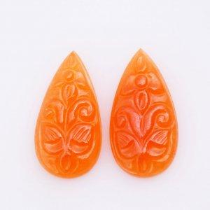 Carving Natural CAROLINE Gemstone fancy Shape 20x32mm 26.30ct 28$ pair