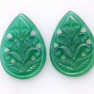 Handcrafted Carving fancy shape Pair Green Onyx 21.35ct 16x22mm 25$.
