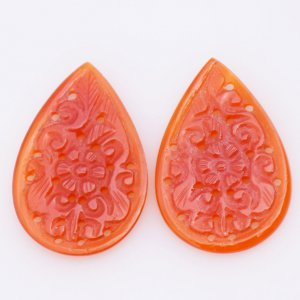 Handcrafted Carving Natural CAROLINE Gemstone Pears shape pair 24x34mm 33.35ct 40$