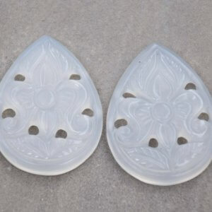 White Onyx 32ct 20x26mm Handcarved Pears Shape Pair for Earring Use