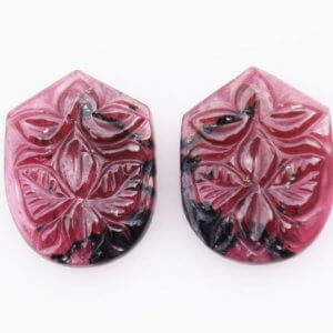 Natural Gemstone Tourmaline 20.05ct 16x19mm 70$ Handcrafted Carving Pair