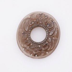 Smoky Gemstone Handmade Carvings Round Shape