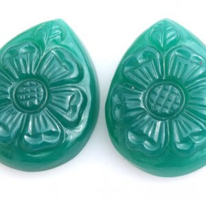 Handcrafted Carving Green Onyx 25.05ct 18x23mm 30$ pair